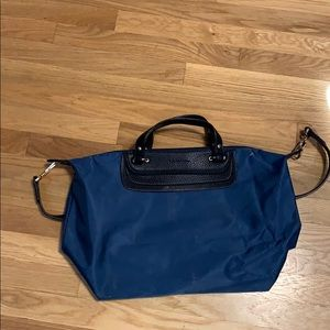 Blue Neiman Marcus removable sling bag